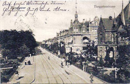 Eine Ansicht der Tiergartenstraße (Hannover) mit der Villa Schultz, als Postkarte 1903 gelaufen
