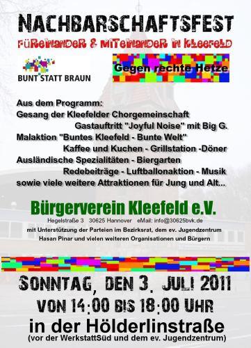Nachbarschaftsfest Buntes Kleefeld - füreinander & miteinander
