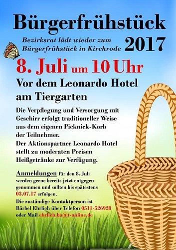 Bezirksrat Kirchrode-Bemerode-Wülferode lädt zum Bürgerfrühstück in Kirchrode